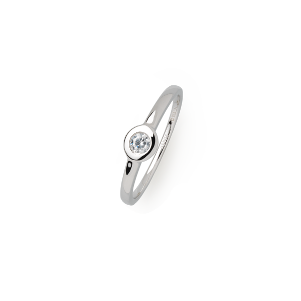 Silver Circle Ring Silber Zirkonia Zarge